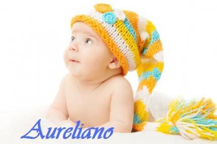 Aureliano Newborn hat baby portrait in woolen cap over white background