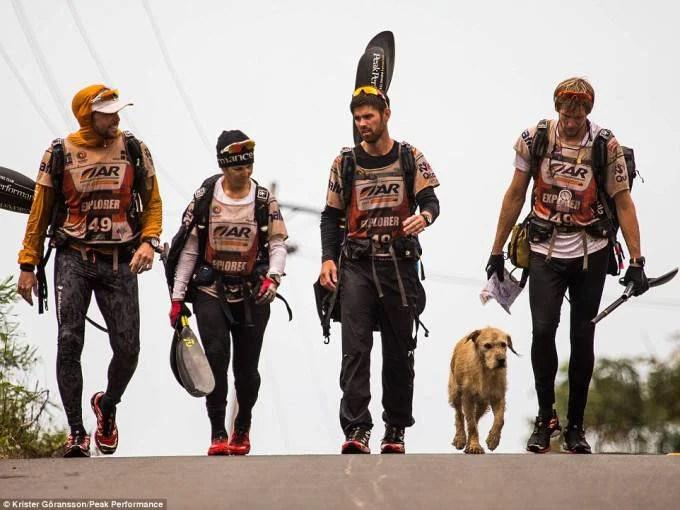 gruppo trekkers con cane