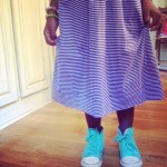 A Purple Striped Dress and Green Converse