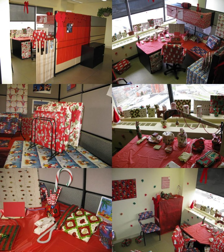 Funny office christmas prank co workers wraped up office and desk