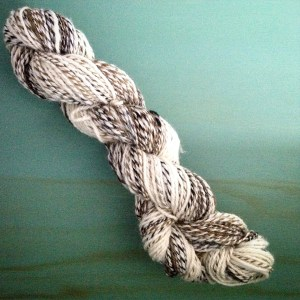 Rolags spun into a three-ply.