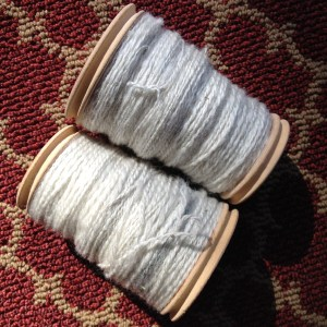 The sparkly batt, spun and plyed.