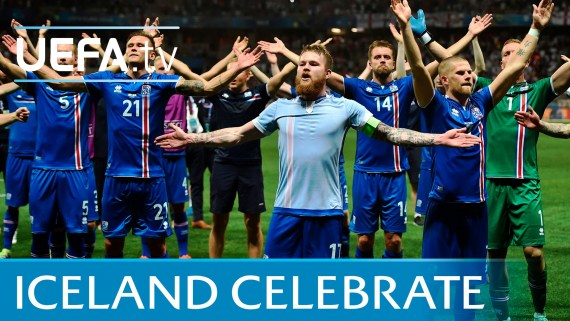 Heroes of the small country: Iceland Players celebrating together with Fans