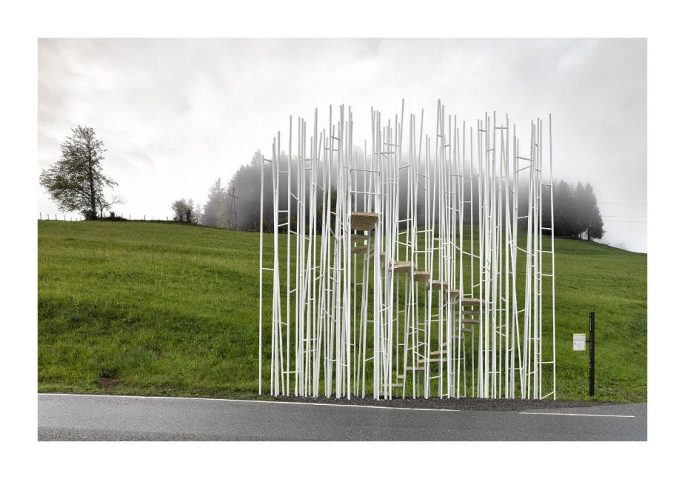 """Sou Fujimoto, Japan: """"Everyone may climb the tower-like bus stop to enjoy panoramic views of Krumbach. A transparent forest of columns can create interesting scenery in a site surrounded by nature."""" (Photo: Adolf Bereuter/BUS:STOP Krumbach)"""
