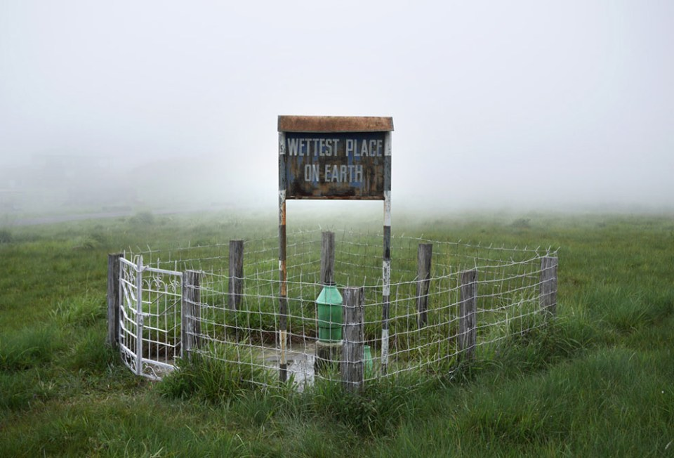 The weather station on the outskirts of Mawsynram. Measurements from the station are taken monthly, but by the end of 2014 an automated digital measurement system will replace this station. (© Amos Chapple)