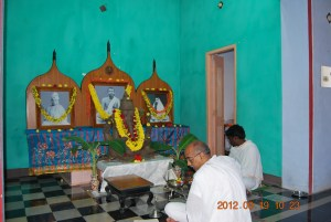 Morning puja in progress