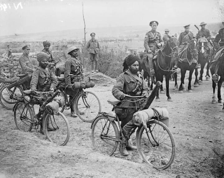 Indian bicycle troops at the Battle of the Somme in 1916