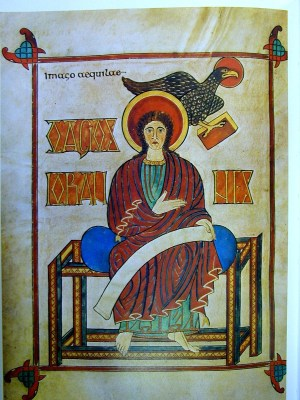 Portrait of John in the Lindisfarne Gospels; By unknown but associated with Eadfrith of Lindisfarne [Public domain], via Wikimedia Commons.