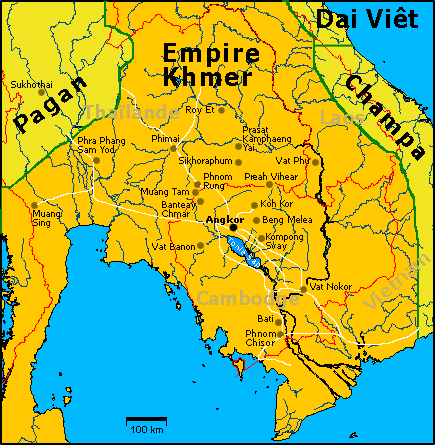 Map of Khmer Empire (source Wikipedia)