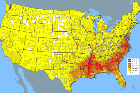 african american population density map (by us county) [1