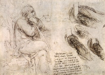 Leonardo Da Vinci used line to create this sketch.