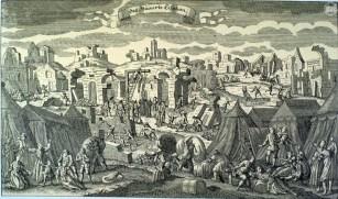 Ruínas de Lisboa - Após o terramoto, os sobreviventes viveram em tendas nos arredores da cidade, como ilustra esta gravura alemã de 1755.