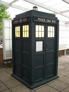 The current TARDIS seen at BBC TV Centre and t...