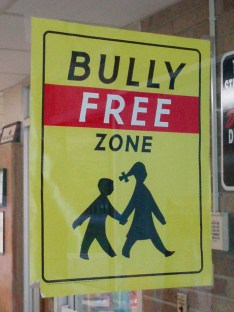 English: A Bully Free Zone sign - School in Be...