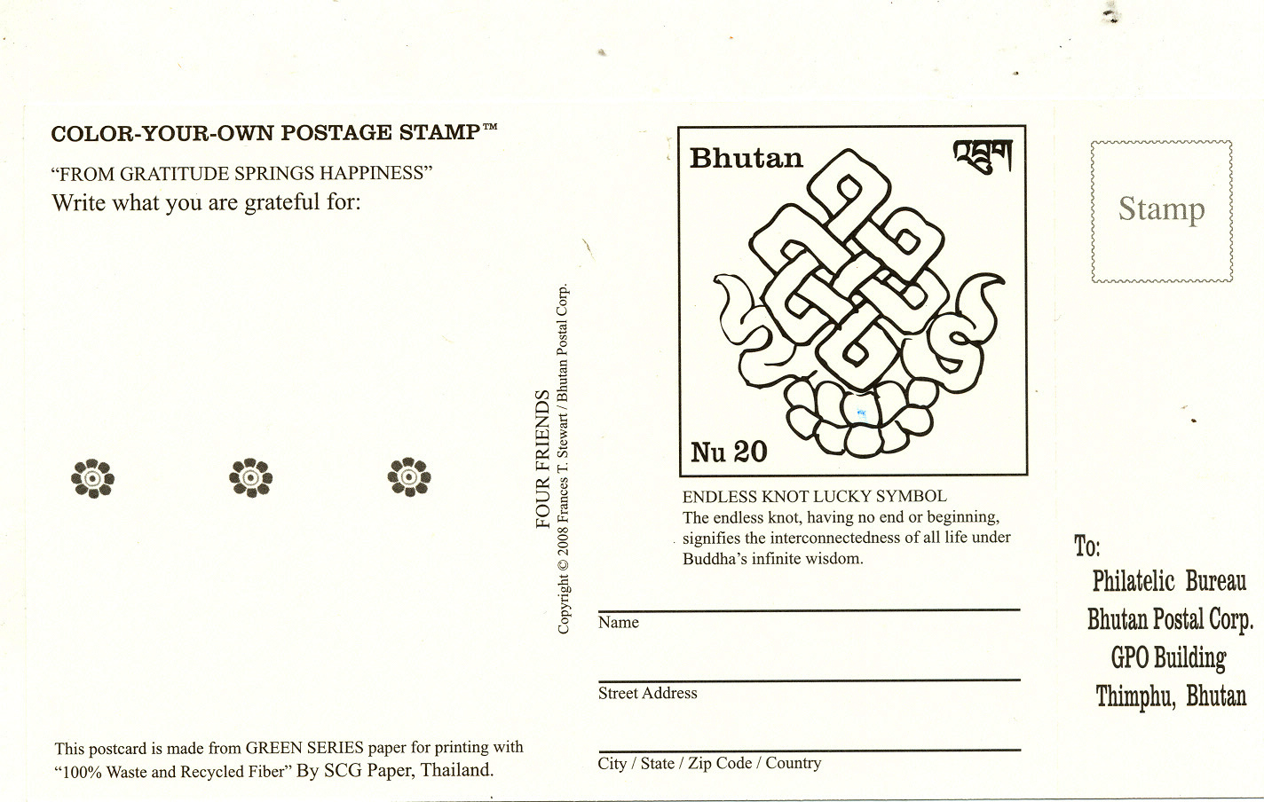 Beautiful Imprinted Color Your Own Postage Stamp Showing A Endless Knot How Much Are Postcard Stamps 2017 Postcard Stamps Usps Bhutan Postcard inspiration Post Card Stamps