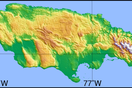 simple topographic map of jamaica