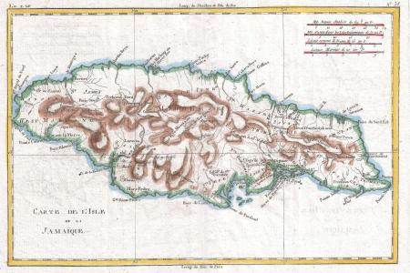 1780 raynal and bonne map of jamaica, west indies geographicus jamaique bonne 1780