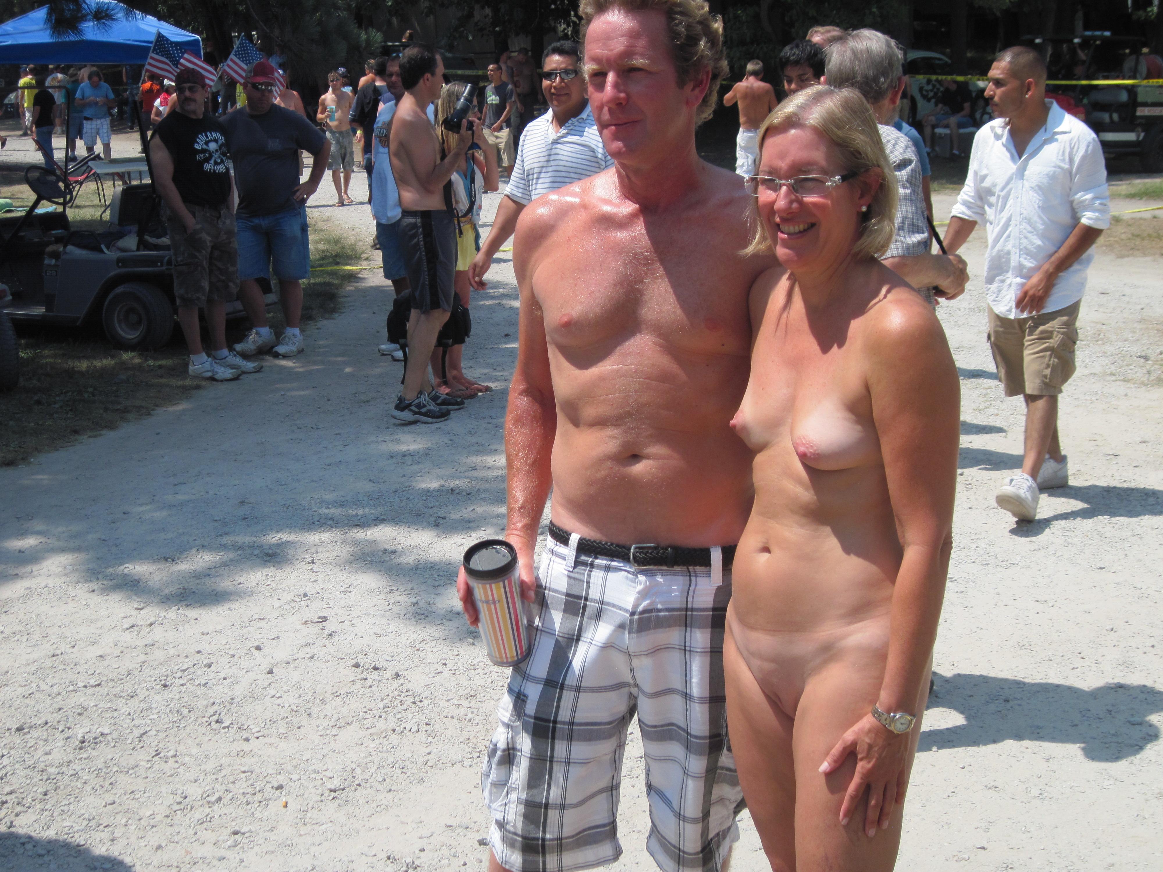 looking at naked man clothed woman