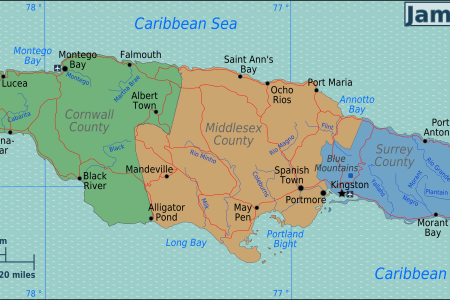 jamaica regions map