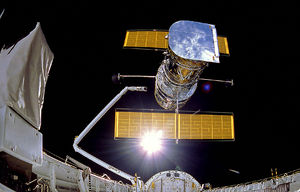 IMAX Cargo Bay Camera view of the Hubble Space...