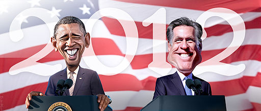 2012 Obama Romney caricature