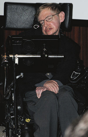 English: Stephen Hawking during the press conf...