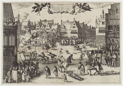 A monochrome illustration of a busy urban scene. Medieval buildings surround an open space, in which several men are being dragged by horses. One man hangs from a scaffold. A corpse is being hacked into pieces. Another man is feeding a large cauldron with a dismembered leg. Thousands of people line the streets and look from windows. Children and dogs run freely. Soldiers keep them back.