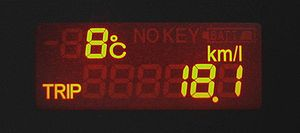 A fuel efficiency meter. (ex. At present, this...