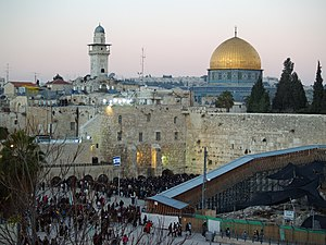 Temple Mount and Western Wall during Shabbat