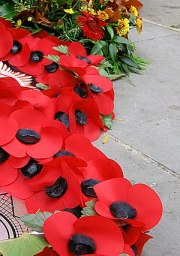Wreaths of artificial poppies used as a symbol...