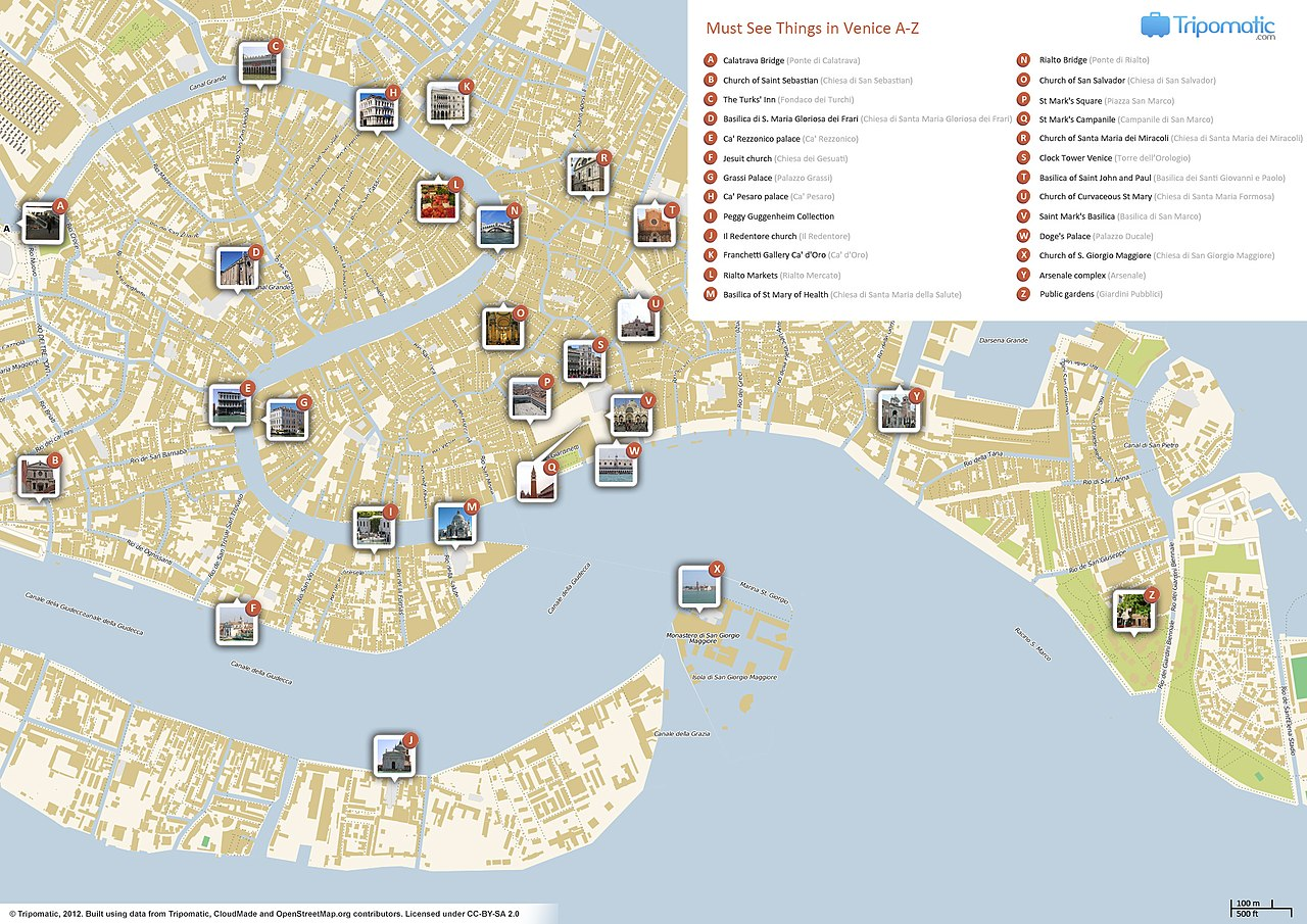map showing venice