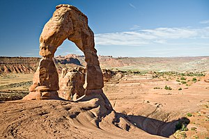 Delicate Arch, a freestanding natural arch loc...