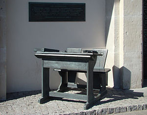 School desk monument