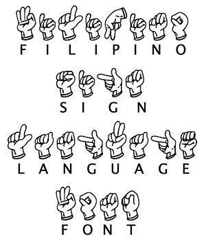 English: Filipino Sign Language Font