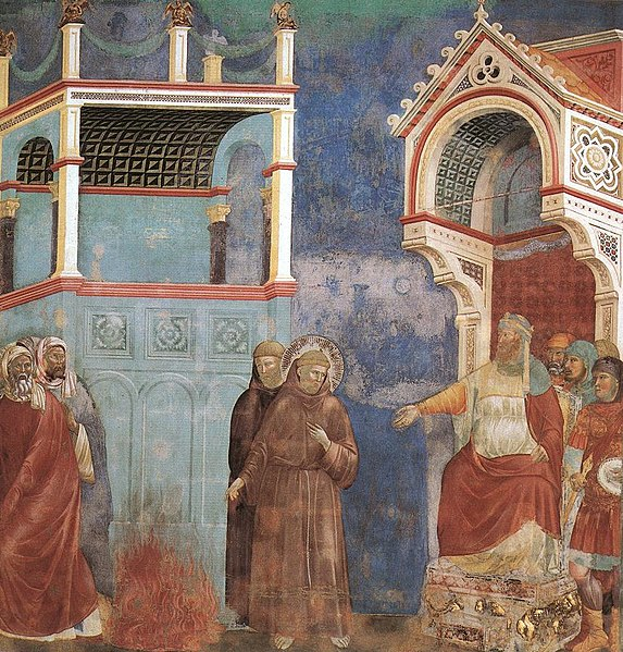 http://upload.wikimedia.org/wikipedia/commons/6/61/Giotto_-_Legend_of_St_Francis_-_-11-_-_St_Francis_before_the_Sultan_(Trial_by_Fire).jpg