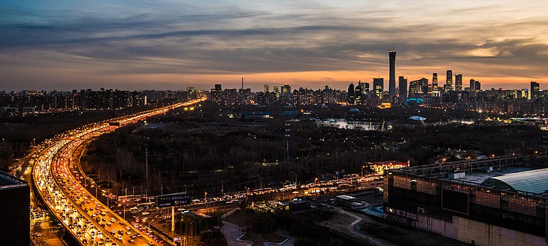Beijing   Wikipedia The skyline of eastern Beijing  including Beijing CBD  Chaoyang Park  and  East 4th Ring Road at dusk