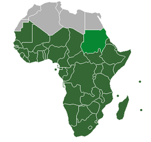 Sub Saharan Africa   Wikipedia Lighter green  However  Sudan is classified as North Africa by the United  Nations