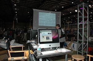 The Wikimedia booth @ Maker Faire 2008 - San Mateo