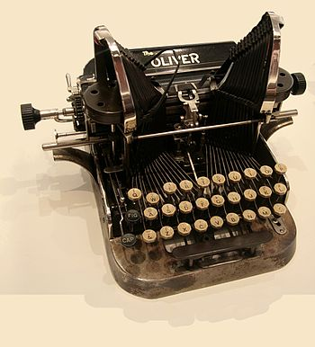 English: An early American typewriter, made by...