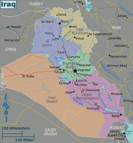 Iraq     Travel guide at Wikivoyage Iraq regions   Color coded map