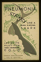 """A poster with a shark in the middle of it, which reads """"Pneumonia Strikes Like a Man Eating Shark Led by its Pilot Fish the Common Cold"""""""