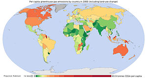 Per capita greenhouse gas emissions by country...
