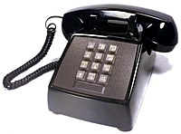 Telephone   Wikipedia AT T push button telephone made by Western Electric model 2500 DMG black  1980