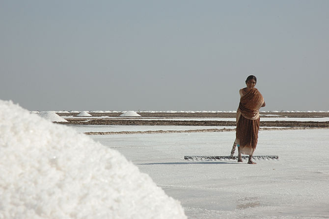 English: A woman working in the salt pans of t...