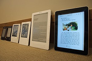 various e-book readers. From right to left iPa...