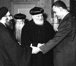 English: Egypt´s president Nasser with a deleg...