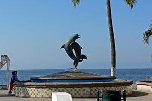 Puerto Vallarta dolphin statue
