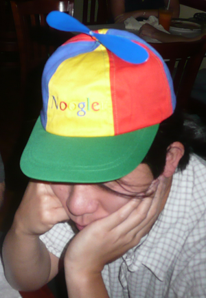 English: photo of some&#959&#1495&#1077 wearing a Google NOO...