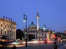 Berlin   Wikipedia Unter den Linden boulevard with Zeughaus  Berlin Cathedral and Fernsehturm  Berlin at night