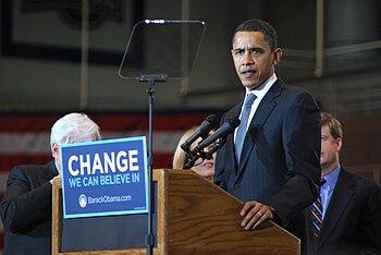 English: Obama speaks at American University.